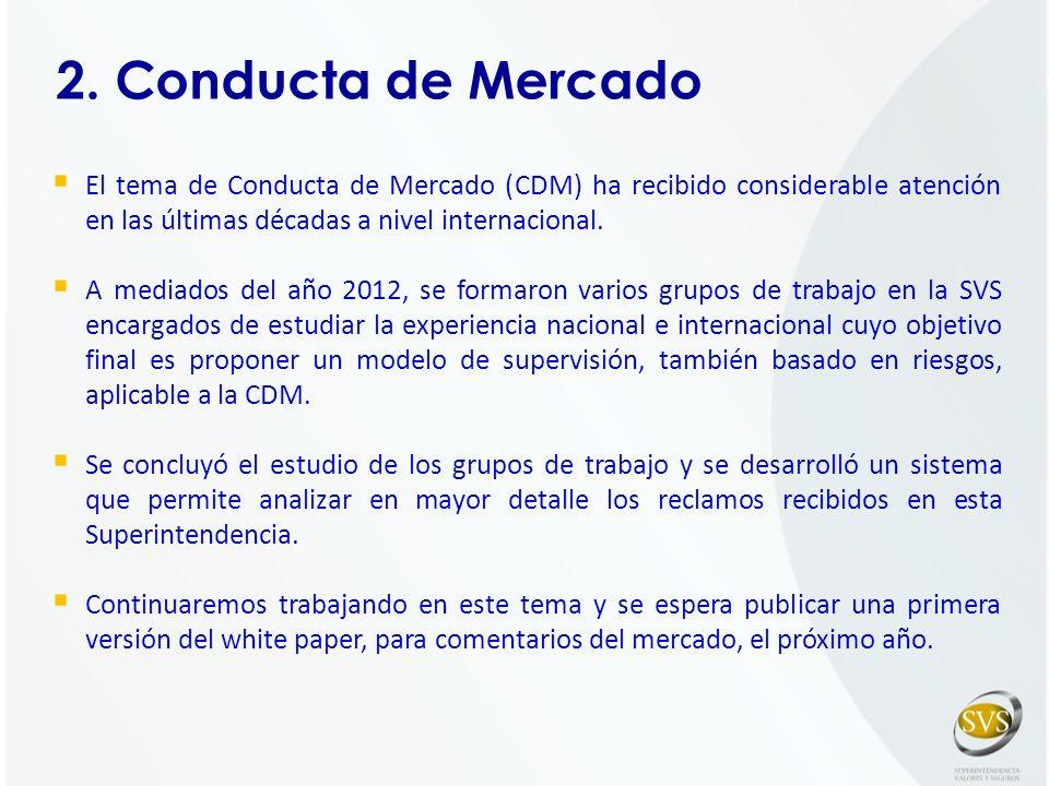 2. Conducta de Mercado El tema de Conducta de Mercado (CDM) ha recibido considerable atención en las últimas décadas a nivel internacional. A mediados