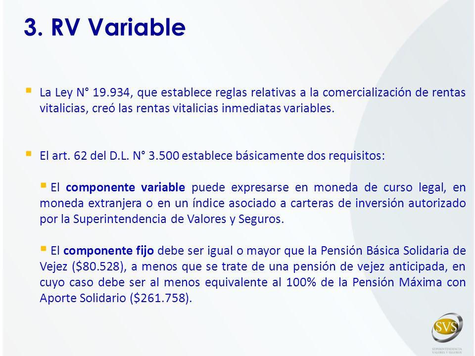 3. RV Variable La Ley N° 19.934, que establece reglas relativas a la comercialización de rentas vitalicias, creó las rentas vitalicias inmediatas vari
