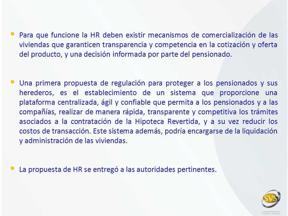 Para que funcione la HR deben existir mecanismos de comercialización de las viviendas que garanticen transparencia y competencia en la cotización y of