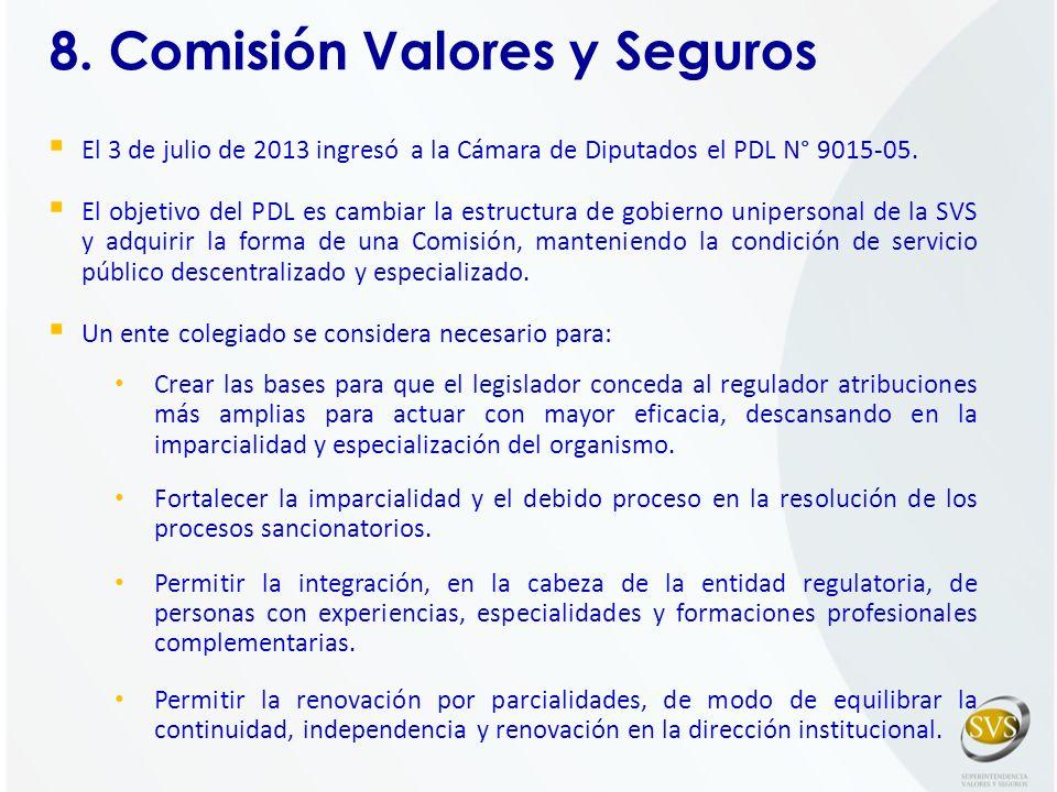 8. Comisión Valores y Seguros El 3 de julio de 2013 ingresó a la Cámara de Diputados el PDL N° 9015-05. El objetivo del PDL es cambiar la estructura d
