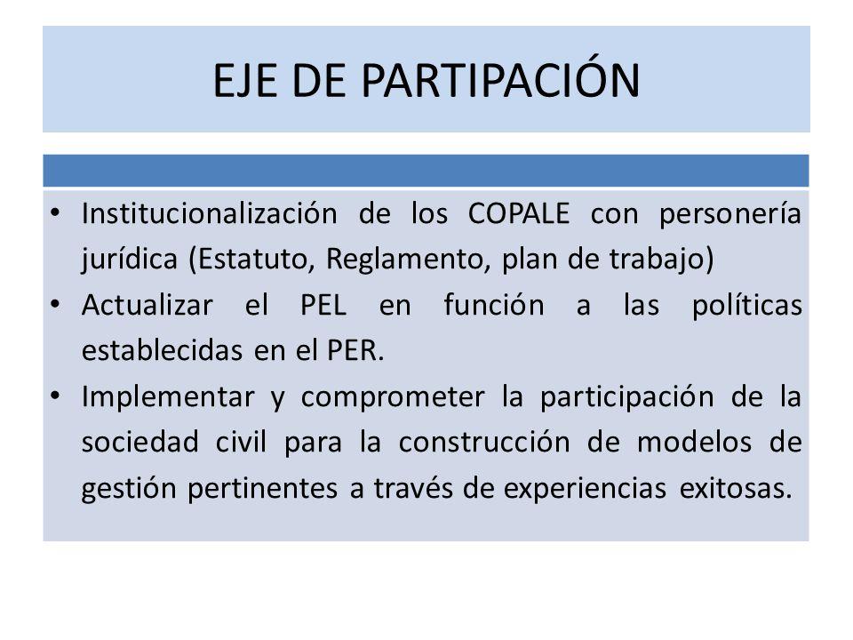 EJE DE PARTIPACIÓN Institucionalización de los COPALE con personería jurídica (Estatuto, Reglamento, plan de trabajo) Actualizar el PEL en función a l