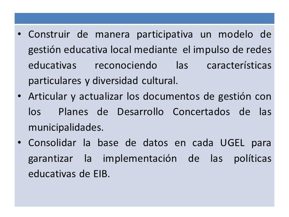 Construir de manera participativa un modelo de gestión educativa local mediante el impulso de redes educativas reconociendo las características partic
