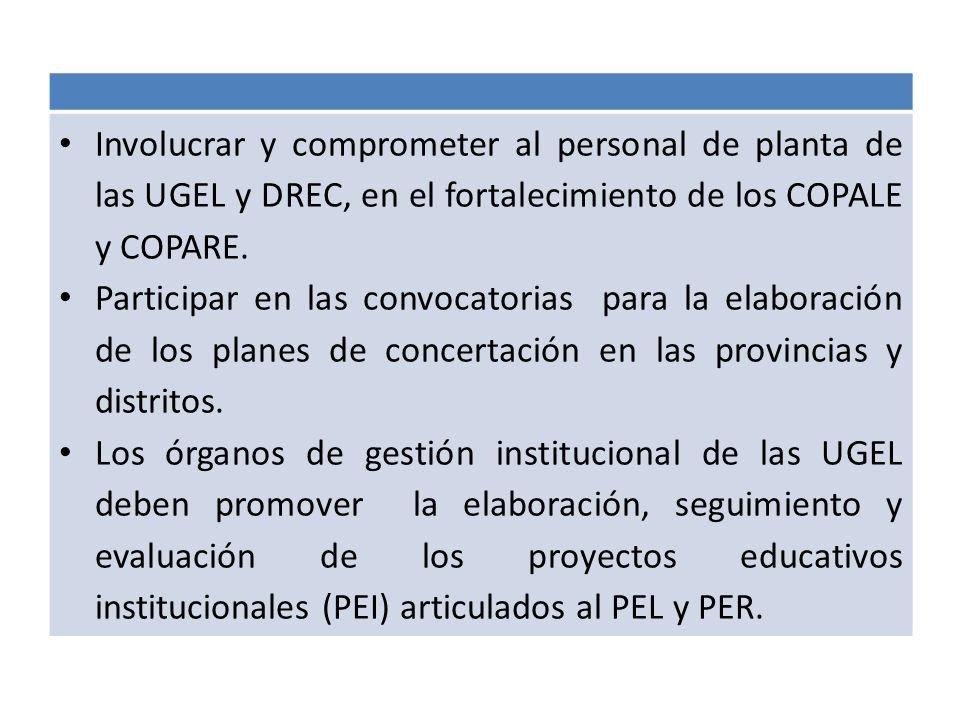 Involucrar y comprometer al personal de planta de las UGEL y DREC, en el fortalecimiento de los COPALE y COPARE. Participar en las convocatorias para
