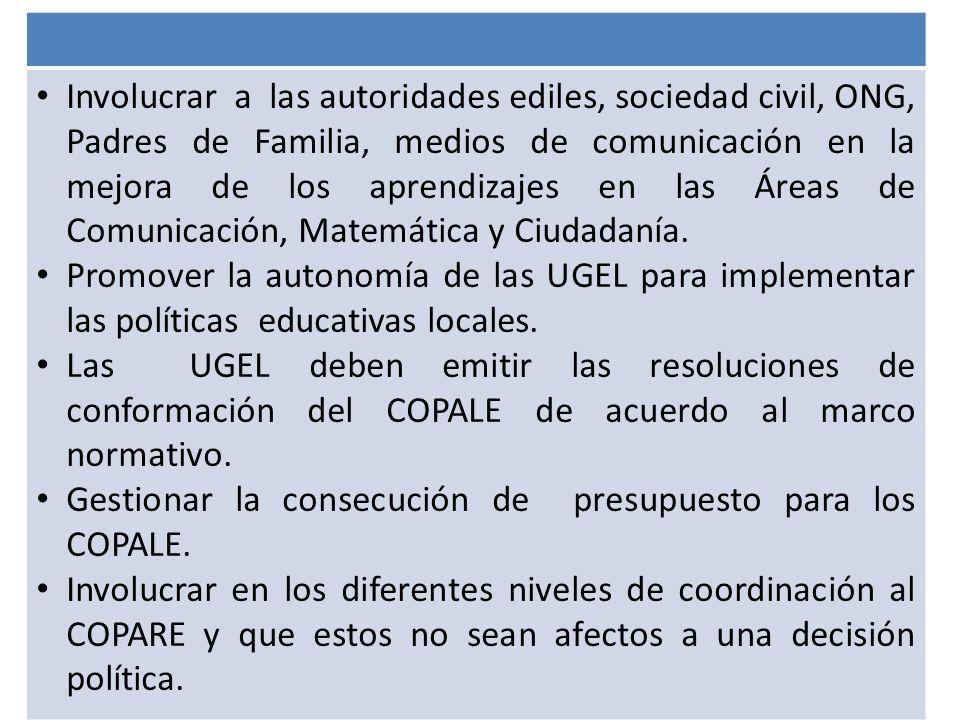 Involucrar a las autoridades ediles, sociedad civil, ONG, Padres de Familia, medios de comunicación en la mejora de los aprendizajes en las Áreas de C
