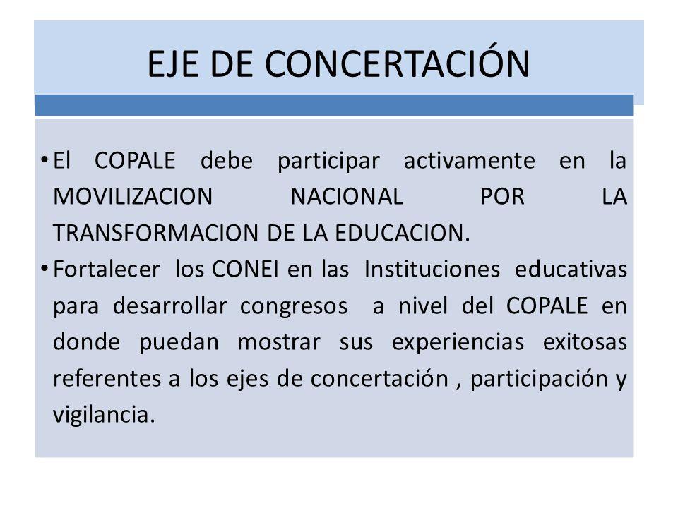 EJE DE CONCERTACIÓN El COPALE debe participar activamente en la MOVILIZACION NACIONAL POR LA TRANSFORMACION DE LA EDUCACION. Fortalecer los CONEI en l