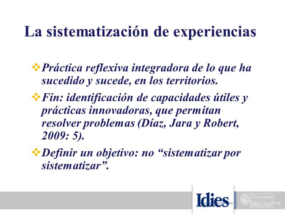 La sistematización de experiencias Práctica reflexiva integradora de lo que ha sucedido y sucede, en los territorios.