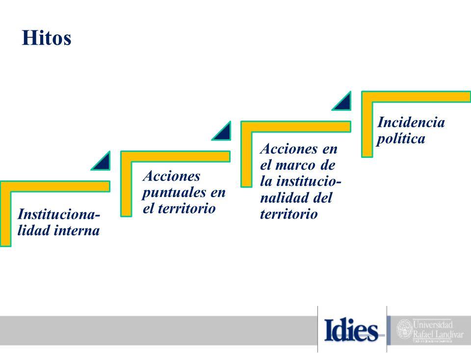 Hitos Instituciona- lidad interna Acciones puntuales en el territorio Acciones en el marco de la institucio- nalidad del territorio Incidencia política