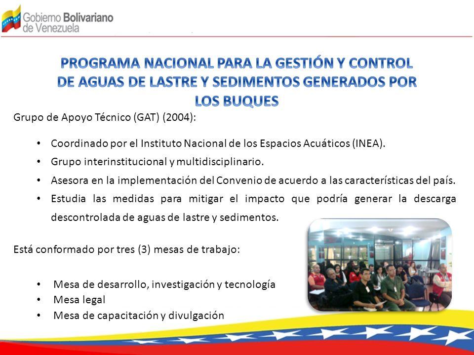Grupo de Apoyo Técnico (GAT) (2004): Coordinado por el Instituto Nacional de los Espacios Acuáticos (INEA). Grupo interinstitucional y multidisciplina