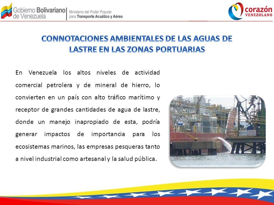 En Venezuela los altos niveles de actividad comercial petrolera y de mineral de hierro, lo convierten en un país con alto tráfico marítimo y receptor de grandes cantidades de agua de lastre, donde un manejo inapropiado de esta, podría generar impactos de importancia para los ecosistemas marinos, las empresas pesqueras tanto a nivel industrial como artesanal y la salud pública.