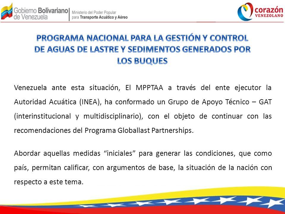 Venezuela ante esta situación, El MPPTAA a través del ente ejecutor la Autoridad Acuática (INEA), ha conformado un Grupo de Apoyo Técnico – GAT (interinstitucional y multidisciplinario), con el objeto de continuar con las recomendaciones del Programa Globallast Partnerships.