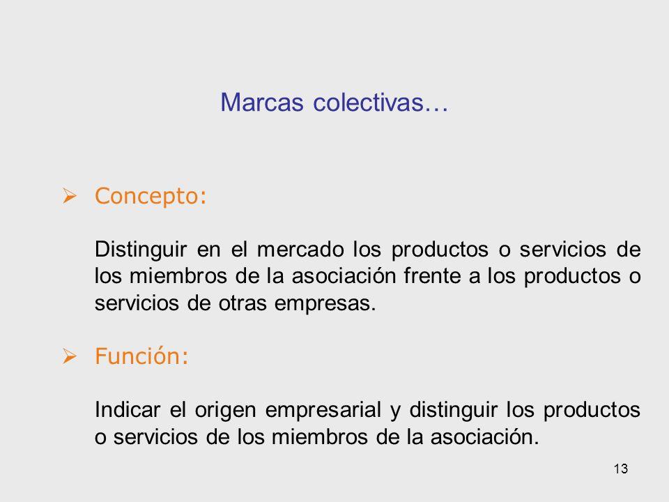 13 Marcas colectivas… Concepto: Distinguir en el mercado los productos o servicios de los miembros de la asociación frente a los productos o servicios de otras empresas.