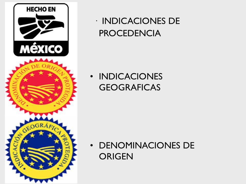 · INDICACIONES DE PROCEDENCIA INDICACIONES GEOGRAFICAS DENOMINACIONES DE ORIGEN