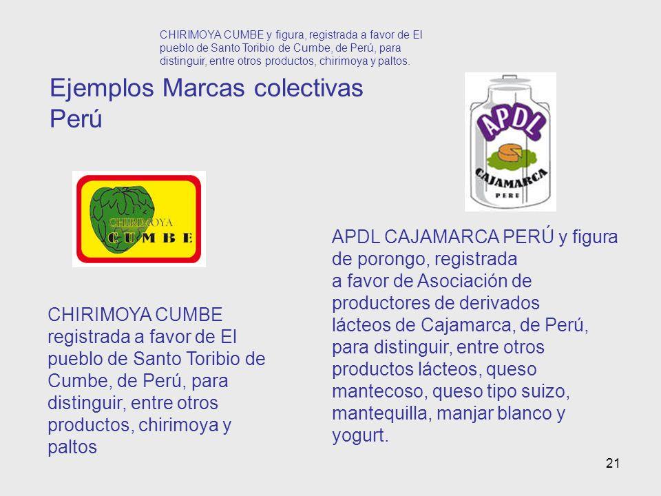 21 Ejemplos Marcas colectivas Perú CHIRIMOYA CUMBE y figura, registrada a favor de El pueblo de Santo Toribio de Cumbe, de Perú, para distinguir, entre otros productos, chirimoya y paltos.