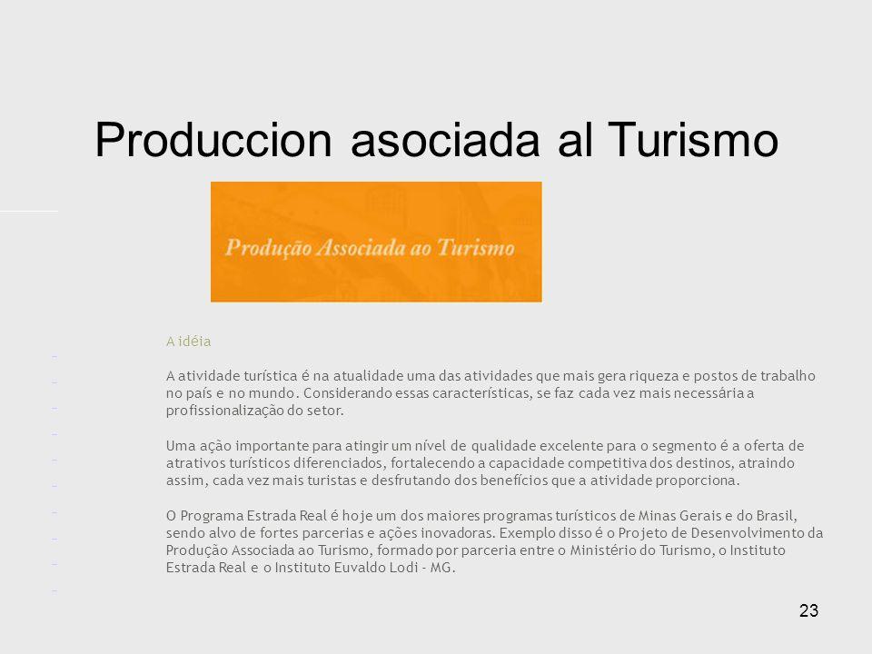 23 Produccion asociada al Turismo A id é ia A atividade tur í stica é na atualidade uma das atividades que mais gera riqueza e postos de trabalho no pa í s e no mundo.