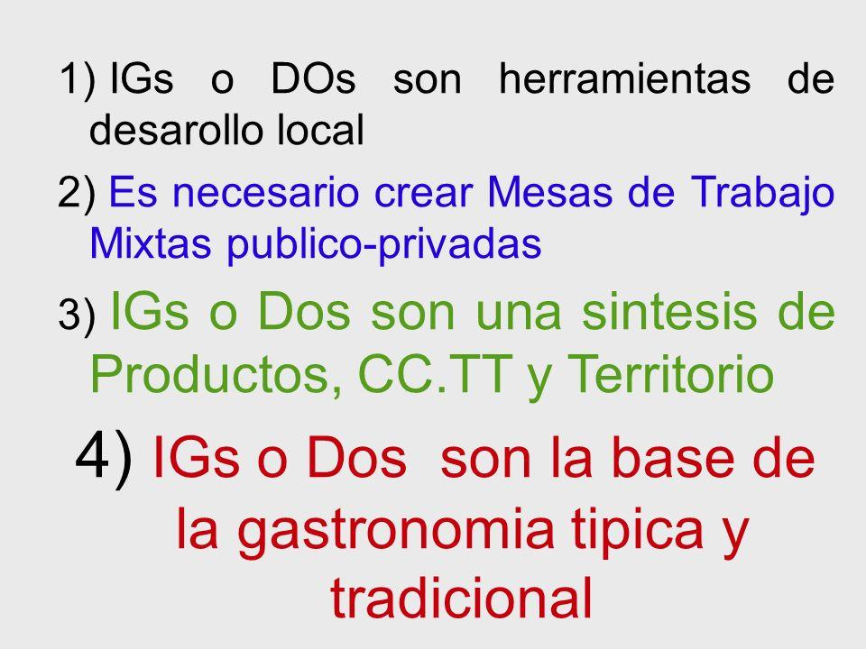 1) IGs o DOs son herramientas de desarollo local 2) Es necesario crear Mesas de Trabajo Mixtas publico-privadas 3) IGs o Dos son una sintesis de Productos, CC.TT y Territorio 4) IGs o Dos son la base de la gastronomia tipica y tradicional
