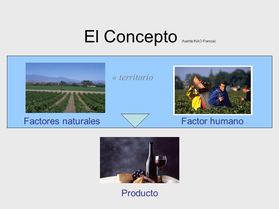 Factores naturales Factor humano El Concepto (fuente INAO Francia) Producto « territorio