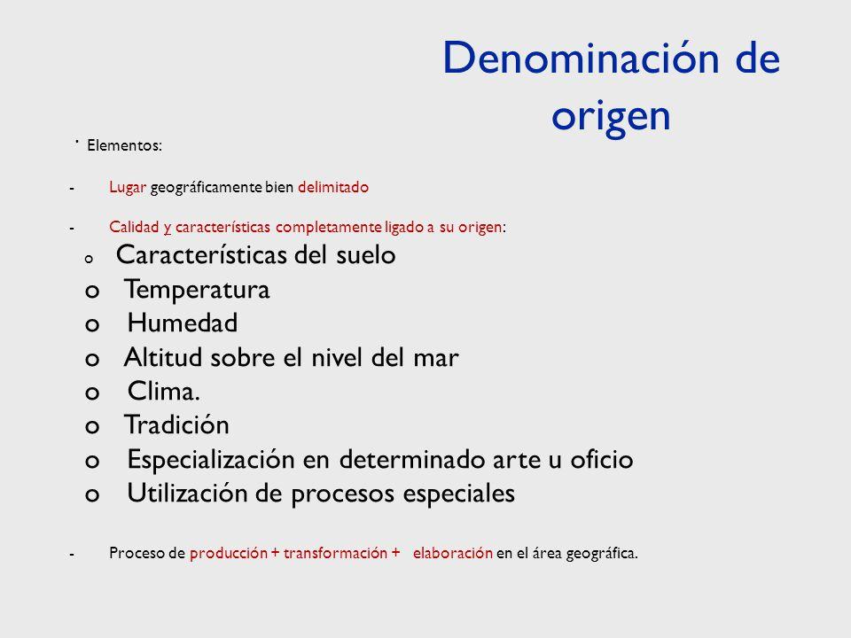 · Elementos: - Lugar geográficamente bien delimitado - Calidad y características completamente ligado a su origen: o Características del suelo o Temperatura o Humedad o Altitud sobre el nivel del mar o Clima.