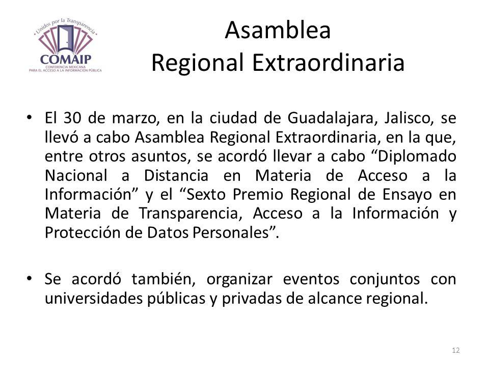 Asamblea Regional Extraordinaria El 30 de marzo, en la ciudad de Guadalajara, Jalisco, se llevó a cabo Asamblea Regional Extraordinaria, en la que, en