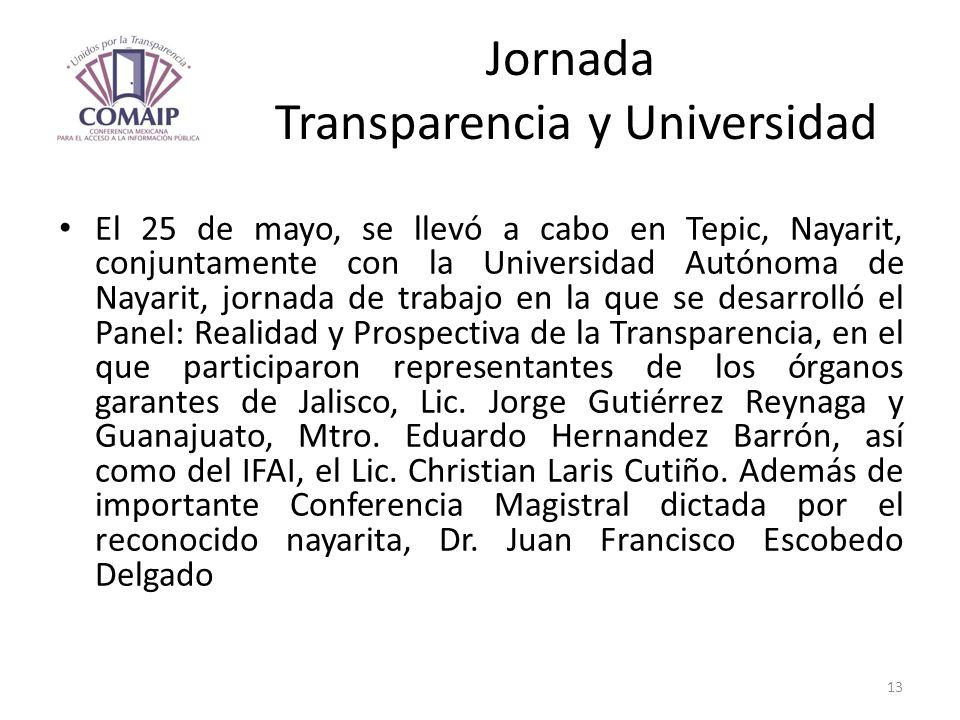 Jornada Transparencia y Universidad El 25 de mayo, se llevó a cabo en Tepic, Nayarit, conjuntamente con la Universidad Autónoma de Nayarit, jornada de