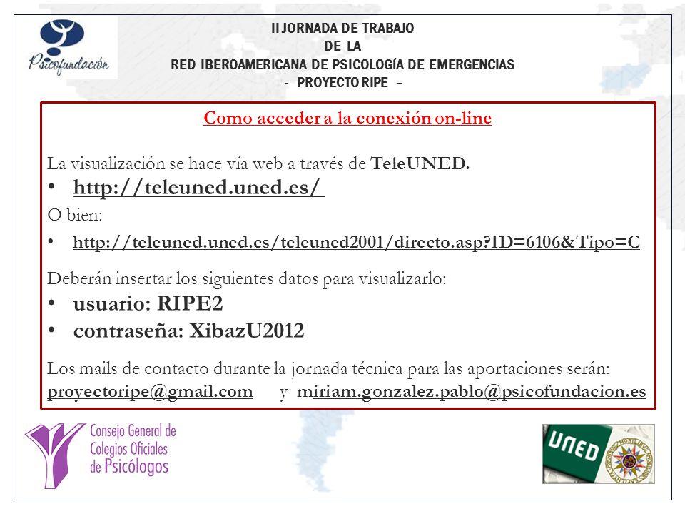 Madrid, 28 de Junio de 2012 Universidad Nacional de Educación a Distancia (UNED) CONFERENCIA PRESENCIAL / ONLINE II JORNADA DE TRABAJO DE LA RED IBEROAMERICANA DE PSICOLOGíA DE EMERGENCIAS - PROYECTO RIPE – Lourdes Fernández Márquez Comité Técnico / Organizativo del Proyecto RIPE