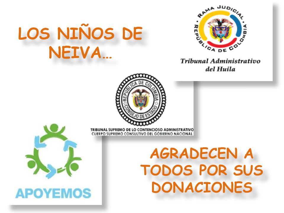 MAGISTRADOS AUXILIARES, SECRETARIO GENERAL, Y SECRETARIO SECCIÓN CUARTA DEL CONSEJO DE ESTADO GRACIAS POR SU DONACIÓN DONACION EN DINERO POR $13.400.000 PARA COMPRA DE PARQUE INFANTIL, ELECTROESTIMULADOR, 30 JUGUETES EN MADERA, 8 COLCHONETAS Y 10 ALFOMBRAS PARA HIPOTERAPIA …
