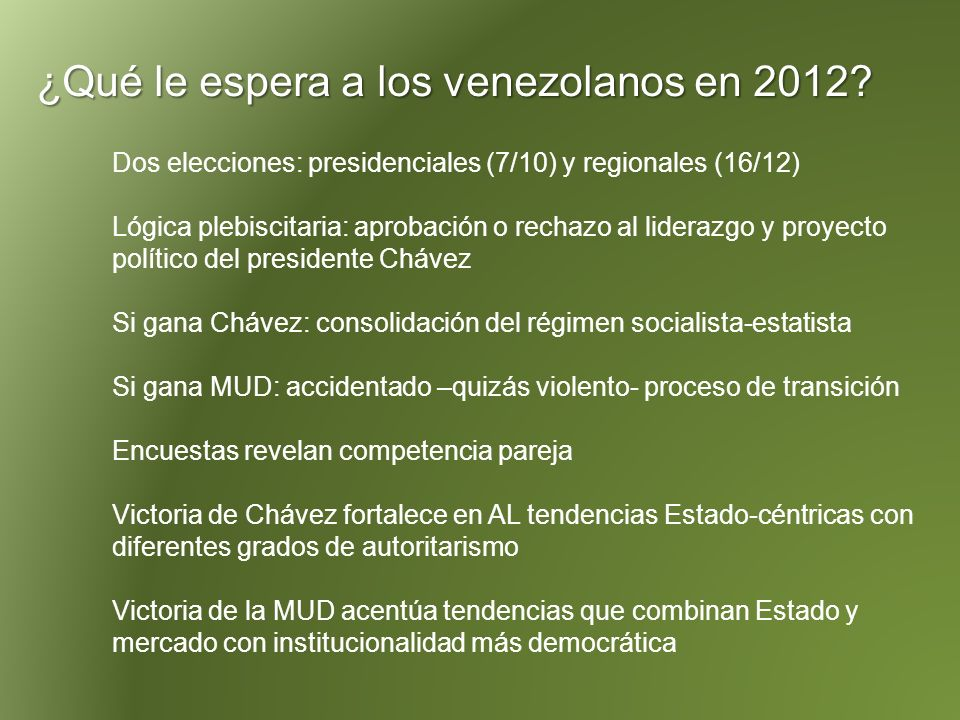 ¿Qué le espera a los venezolanos en 2012.