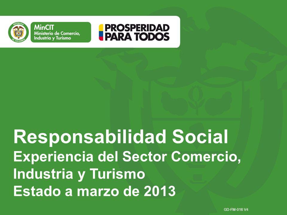 Responsabilidad Social Experiencia del Sector Comercio, Industria y Turismo Estado a marzo de 2013 GD-FM-016 V4
