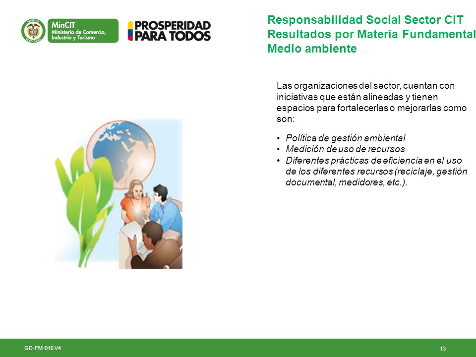 13 GD-FM-016 V4 Responsabilidad Social Sector CIT Resultados por Materia Fundamental Medio ambiente Las organizaciones del sector, cuentan con iniciat