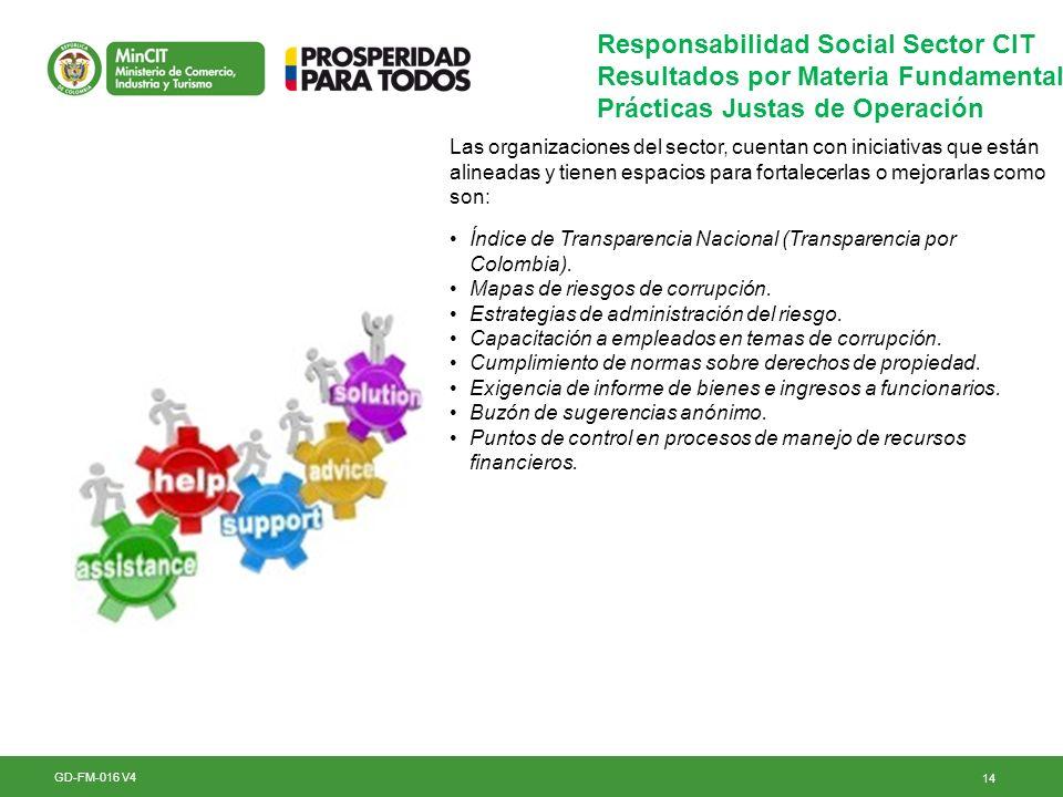 14 GD-FM-016 V4 Responsabilidad Social Sector CIT Resultados por Materia Fundamental Prácticas Justas de Operación Las organizaciones del sector, cuen