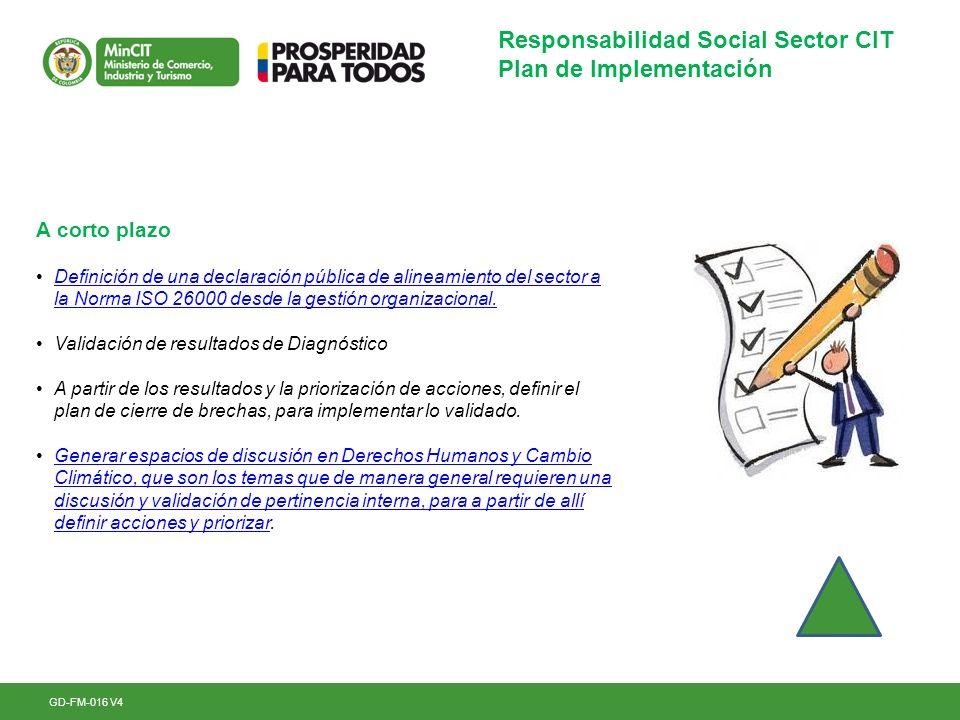 GD-FM-016 V4 Responsabilidad Social Sector CIT Plan de Implementación A corto plazo Definición de una declaración pública de alineamiento del sector a