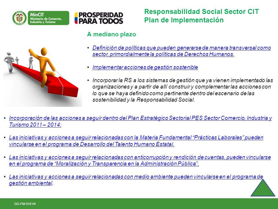 GD-FM-016 V4 Responsabilidad Social Sector CIT Plan de Implementación A mediano plazo Definición de políticas que pueden generarse de manera transvers