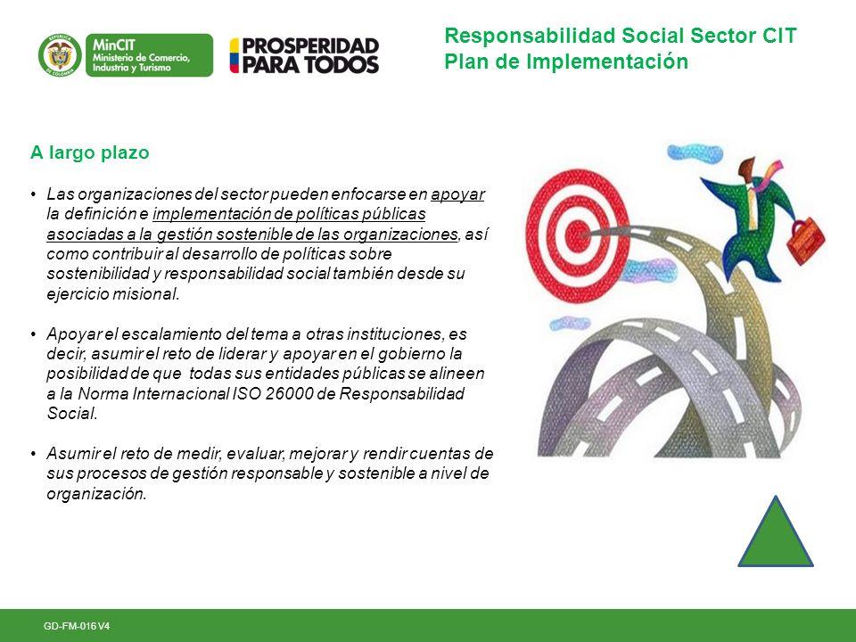 GD-FM-016 V4 Responsabilidad Social Sector CIT Plan de Implementación A largo plazo Las organizaciones del sector pueden enfocarse en apoyar la defini