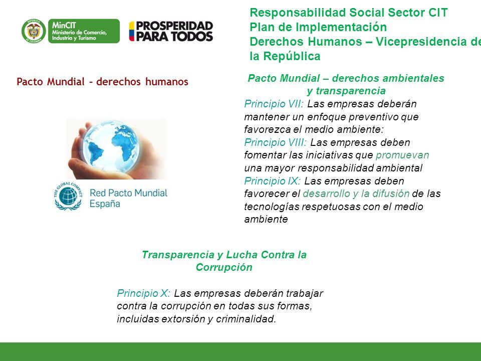 Pacto Mundial – derechos ambientales y transparencia Principio VII: Las empresas deberán mantener un enfoque preventivo que favorezca el medio ambient