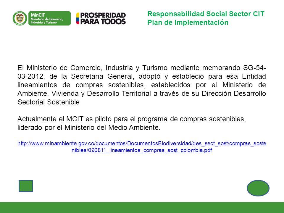 Responsabilidad Social Sector CIT Plan de Implementación El Ministerio de Comercio, Industria y Turismo mediante memorando SG-54- 03-2012, de la Secre