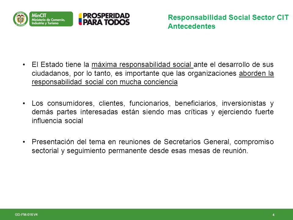 4 Responsabilidad Social Sector CIT Antecedentes GD-FM-016 V4 El Estado tiene la máxima responsabilidad social ante el desarrollo de sus ciudadanos, p