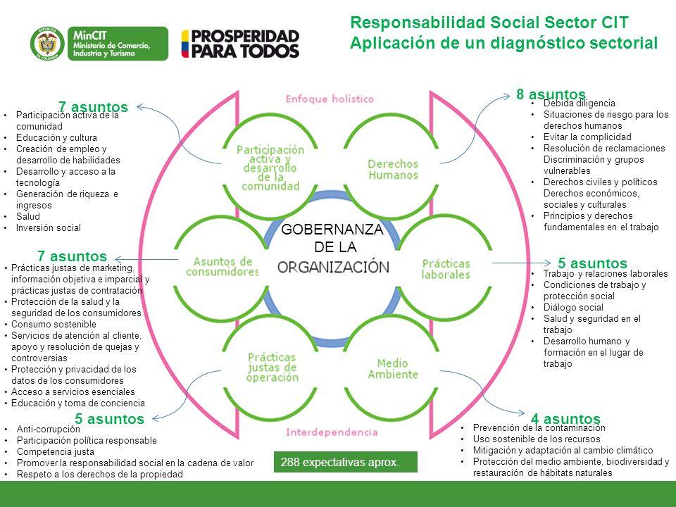 Responsabilidad Social Sector CIT Aplicación de un diagnóstico sectorial 8 asuntos 5 asuntos 4 asuntos5 asuntos 7 asuntos Debida diligencia Situacione