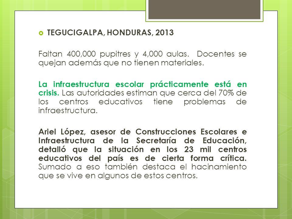 TEGUCIGALPA, HONDURAS, 2013 Faltan 400,000 pupitres y 4,000 aulas. Docentes se quejan además que no tienen materiales. La infraestructura escolar prác