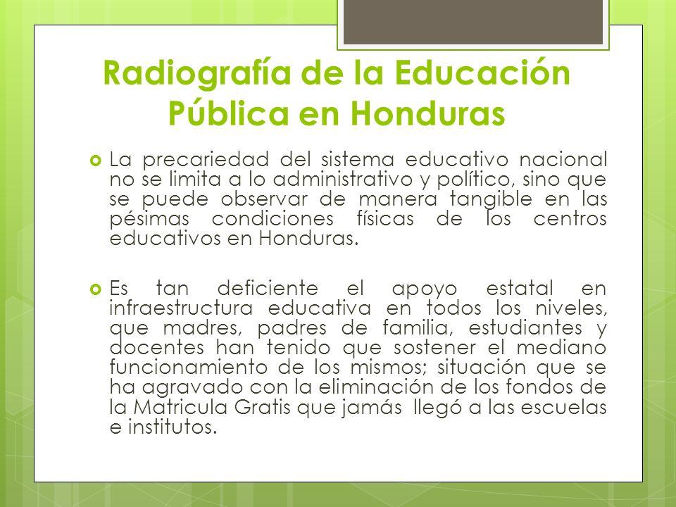 Radiografía de la Educación Pública en Honduras La precariedad del sistema educativo nacional no se limita a lo administrativo y político, sino que se