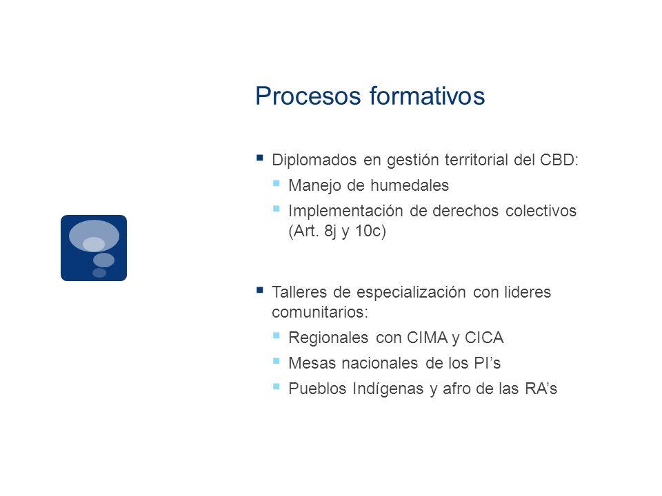 Procesos formativos Diplomados en gestión territorial del CBD: Manejo de humedales Implementación de derechos colectivos (Art. 8j y 10c) Talleres de e