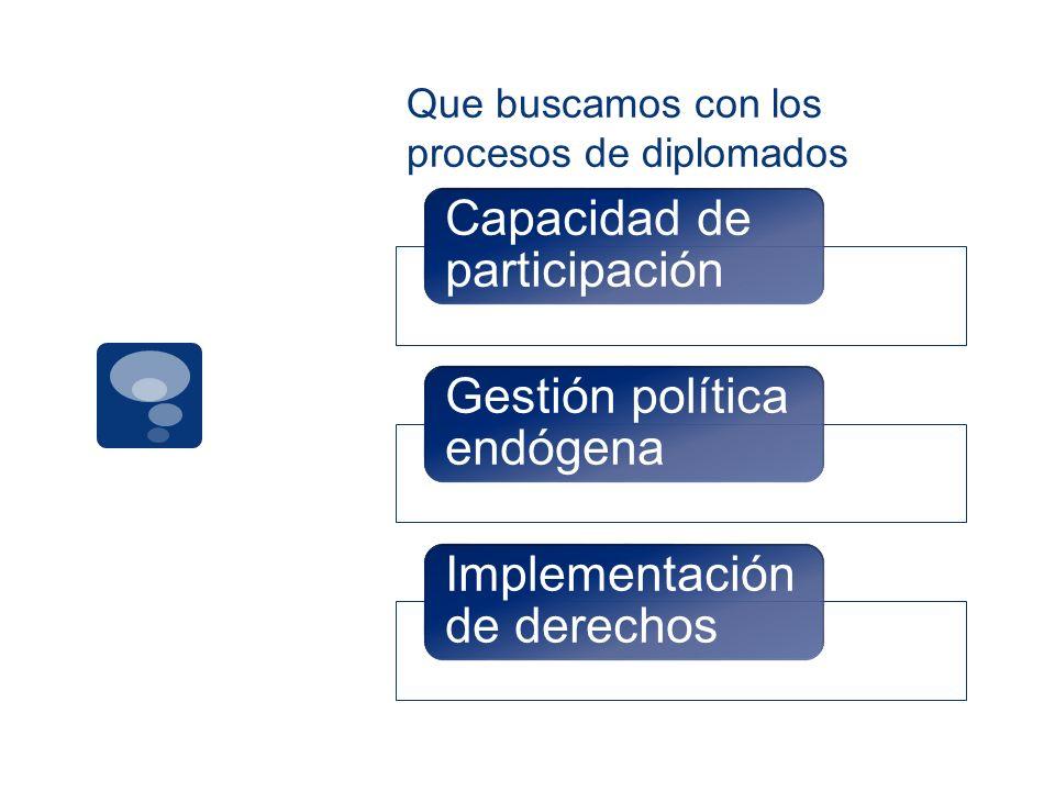 Que buscamos con los procesos de diplomados Capacidad de participación Gestión política endógena Implementación de derechos