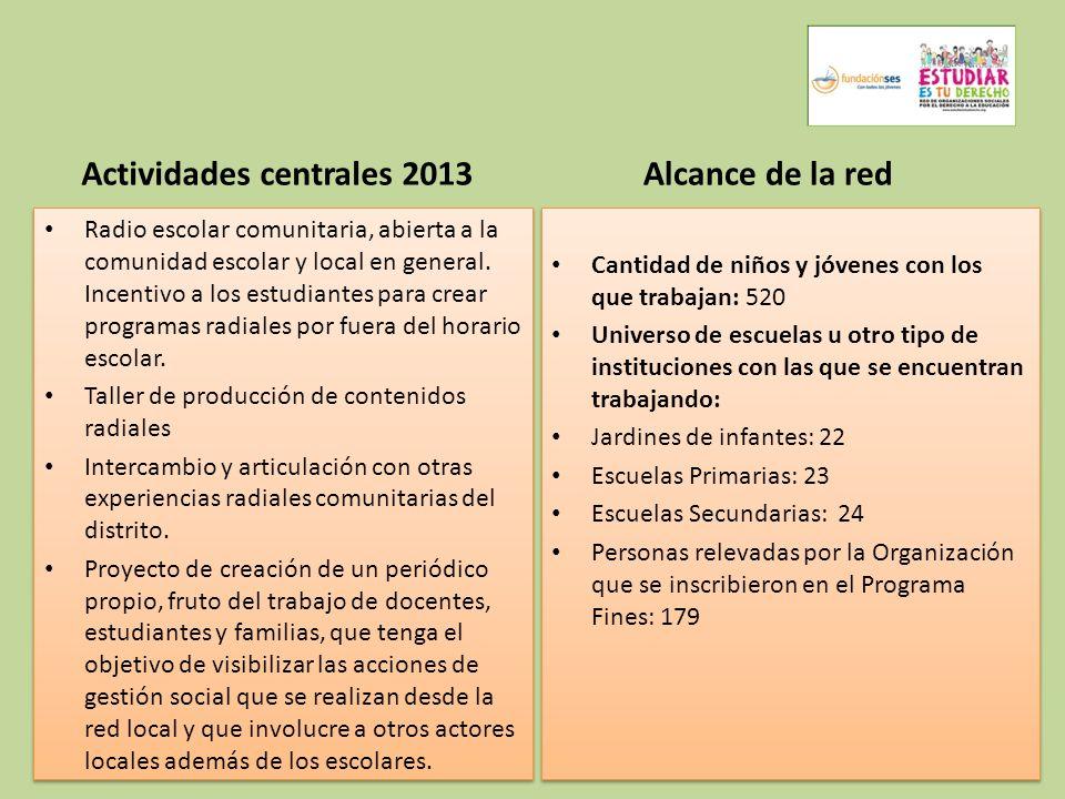 Actividades centrales 2013 Radio escolar comunitaria, abierta a la comunidad escolar y local en general. Incentivo a los estudiantes para crear progra