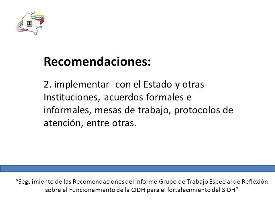 Seguimiento de las Recomendaciones del Informe Grupo de Trabajo Especial de Reflexión sobre el Funcionamiento de la CIDH para el fortalecimiento del SIDH Recomendaciones: 3.