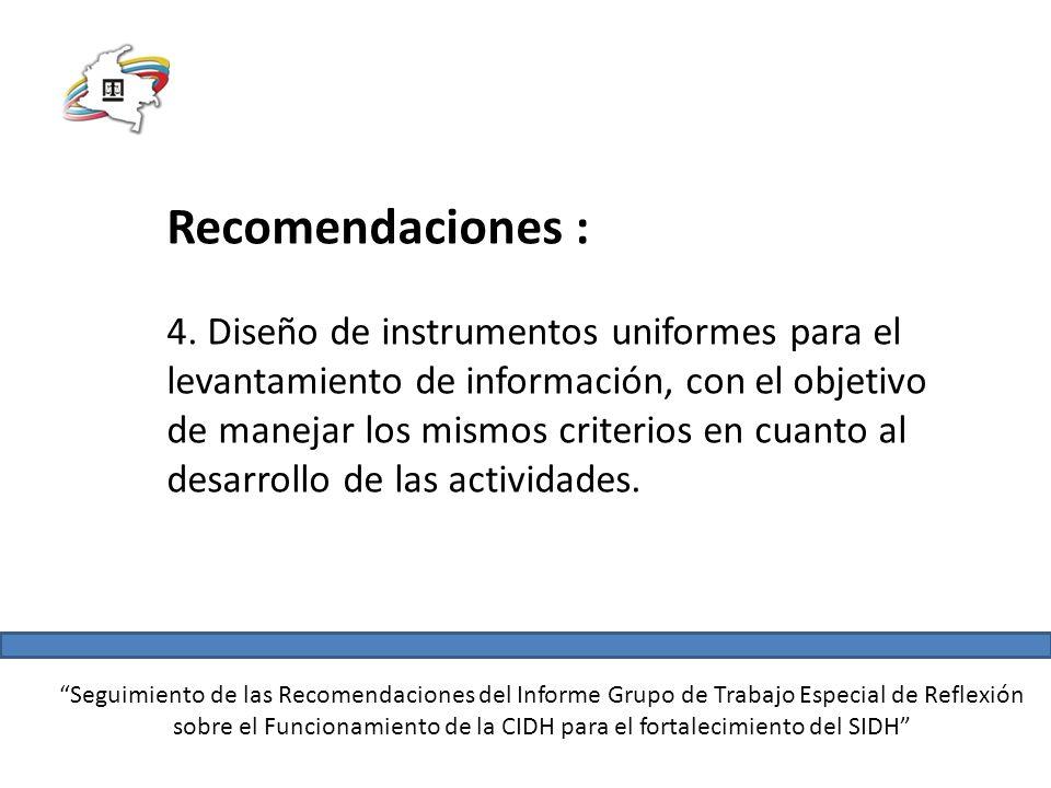 Seguimiento de las Recomendaciones del Informe Grupo de Trabajo Especial de Reflexión sobre el Funcionamiento de la CIDH para el fortalecimiento del SIDH Recomendaciones : 4.