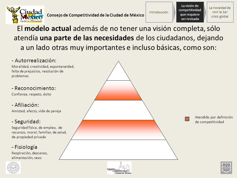 Consejo de Competitividad de la Ciudad de México El modelo actual además de no tener una visión completa, sólo atendía una parte de las necesidades de