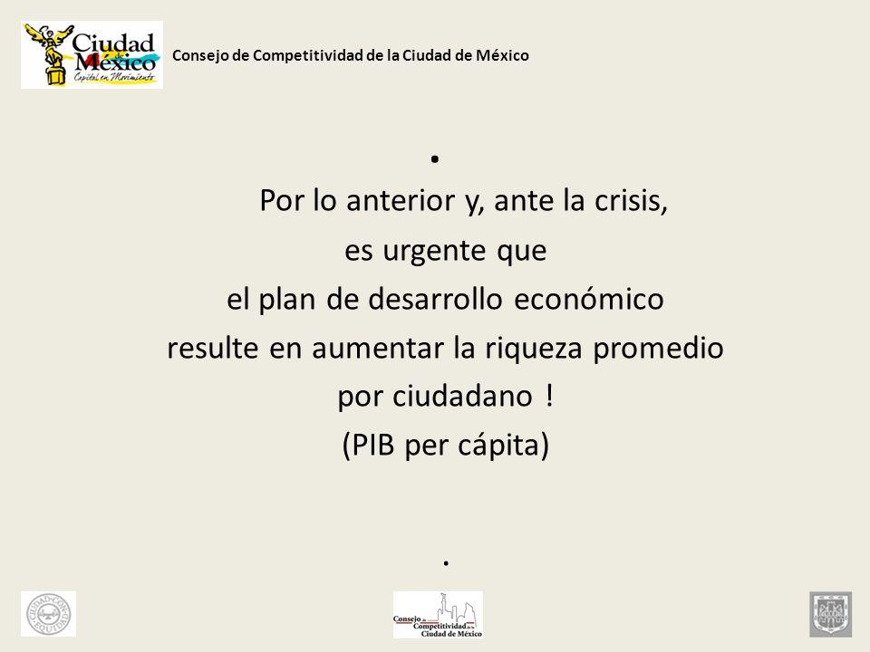 Consejo de Competitividad de la Ciudad de México. Por lo anterior y, ante la crisis, es urgente que el plan de desarrollo económico resulte en aumenta
