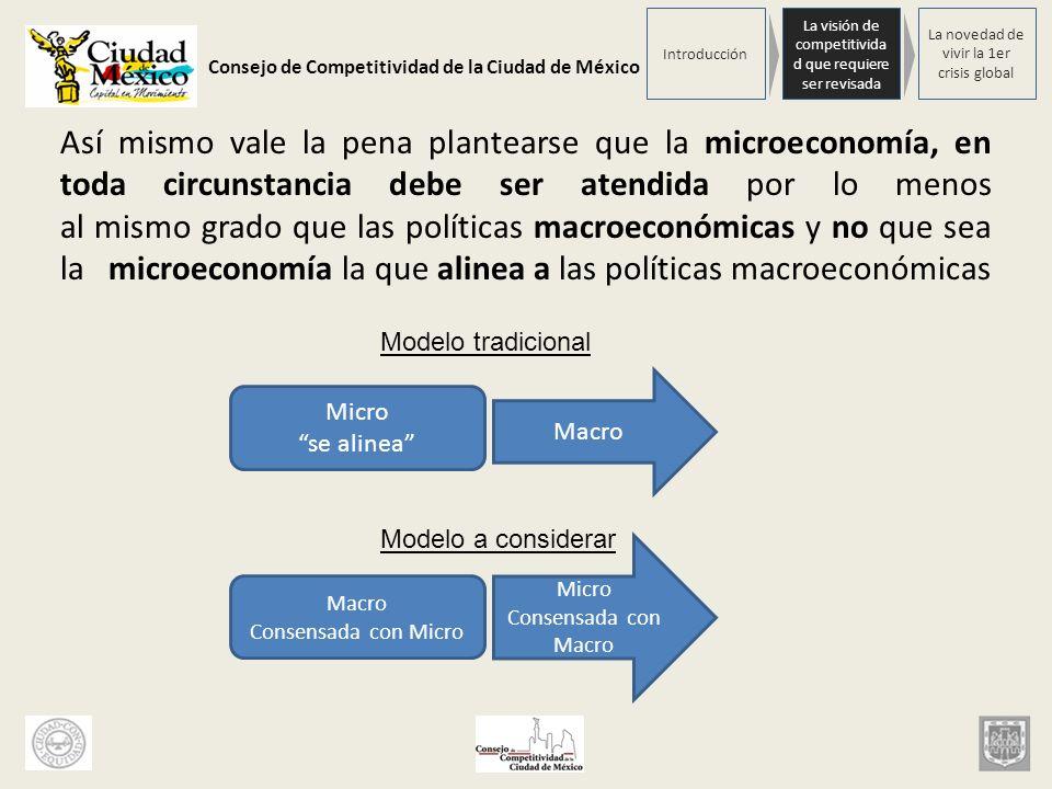 Consejo de Competitividad de la Ciudad de México Así mismo vale la pena plantearse que la microeconomía, en toda circunstancia debe ser atendida por l
