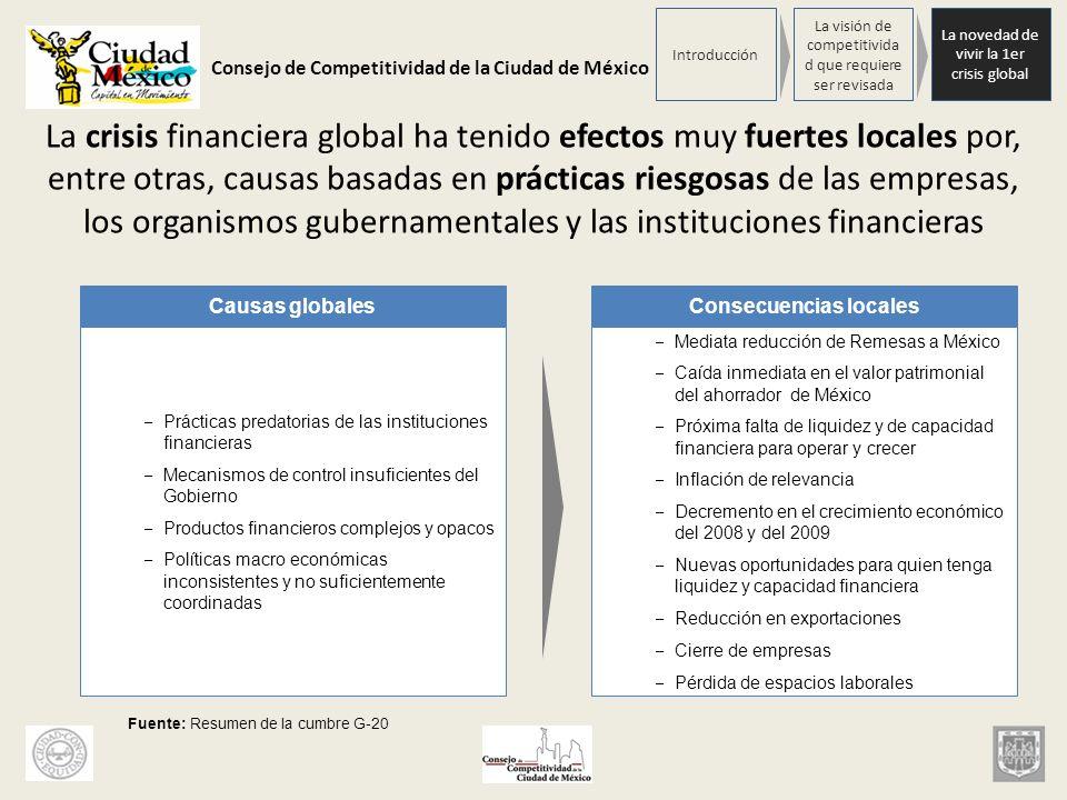 Consejo de Competitividad de la Ciudad de México La crisis financiera global ha tenido efectos muy fuertes locales por, entre otras, causas basadas en