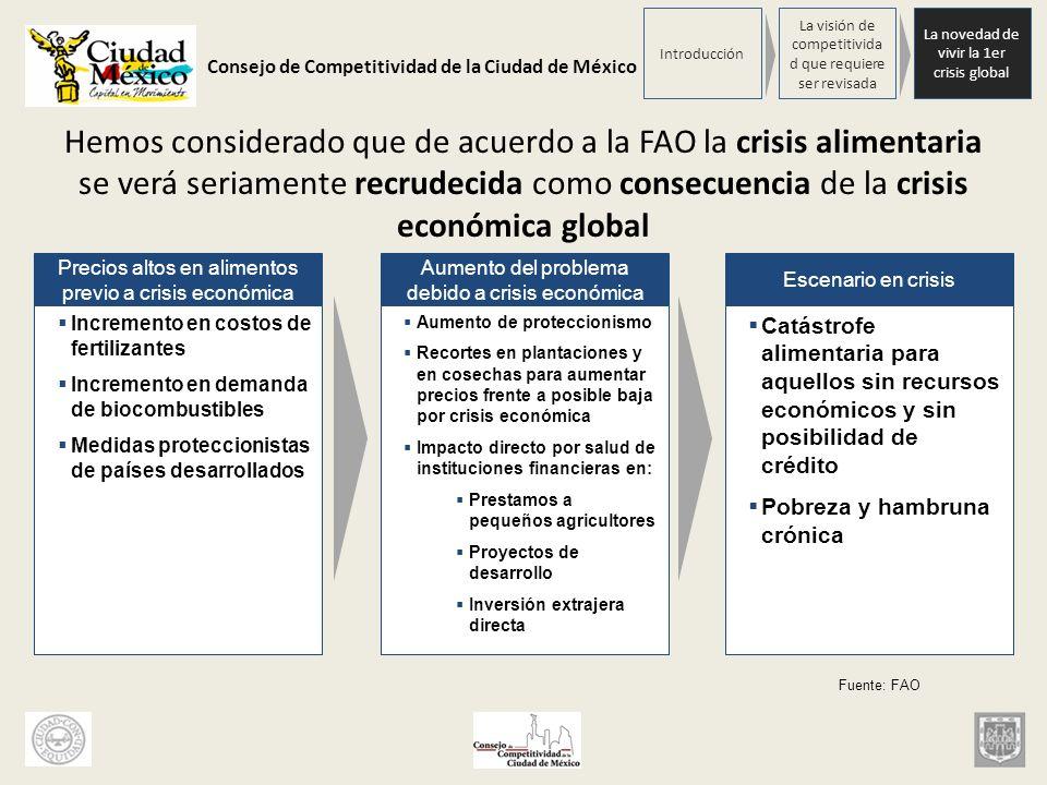Consejo de Competitividad de la Ciudad de México Hemos considerado que de acuerdo a la FAO la crisis alimentaria se verá seriamente recrudecida como c