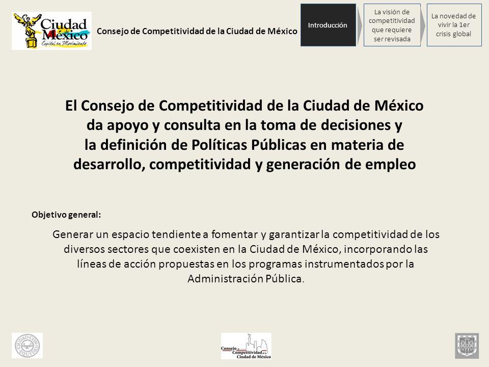 Consejo de Competitividad de la Ciudad de México Objetivos específicos: 1.Lograr que el Plan Estratégico para la Competitividad y los planes que de él emanen, orienten la toma de decisiones en materia de desarrollo, competitividad y generación de empleo; 2.Impulsar la adopción de mecanismo de financiamiento y de desregulación administrativa que favorezcan la competitividad; 3.Favorecer la implantación de avances científicos y tecnológicos en los procesos productivos y/o de prestación de servicios, que optimicen el funcionamiento de las empresas; 4.Establecer estrategias que favorezcan la competitividad de los factores económicos de la ciudad, y la generación de empleos; 5.Contribuir a desarrollar a generar un desarrollo sustentable en el Distrito Federal; 6.Generar espacios para la reflexión y debate en torno al potencial competitivo y de generación de empleo, a través de la realización de foros de discusión, conferencias, cátedras, seminarios y otros mecanismos de promoción.