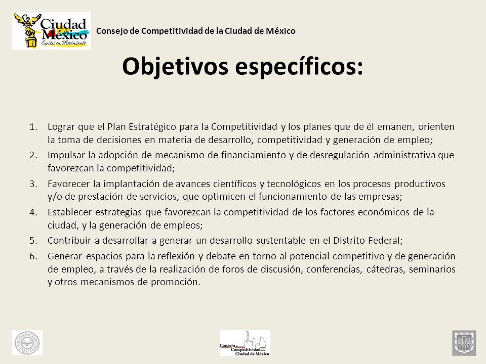 Consejo de Competitividad de la Ciudad de México Objetivos específicos: 1.Lograr que el Plan Estratégico para la Competitividad y los planes que de él
